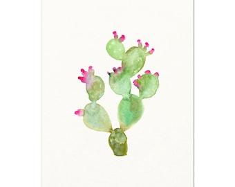 Pink / Green Cactus Art Print. Desert Boho Apartment Wall Art. Prickly Pear Cactus Painting. Modern Boho Cactus Art. Southwest Dorm Decor.