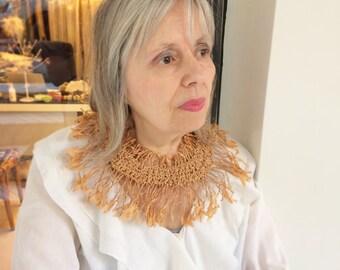 """Crocheted Fiber Art-Inspired Tattered Light Terracotta Paper """"Flower"""" Necklace"""