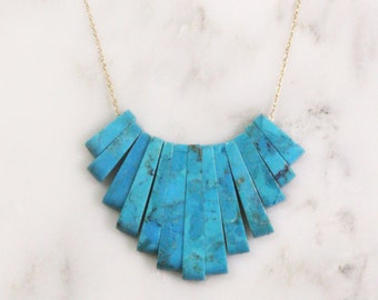 14k Gold Turquoise Bib Necklace - Solid 14k Gold Fine Chain Necklace - Turquoise Needle Modern Minimalist Small Bib Necklace