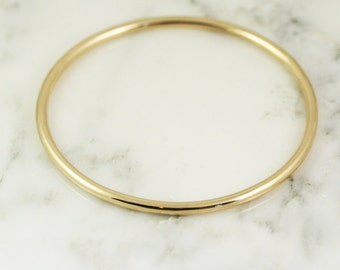 3.25mm Solid 14k Gold Bangle Bracelet - Simple Gold Bracelet - 3mm Bangle