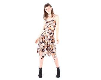 SALE - 90s Does 70s Psychedelic Print Drop Waist Handkerchief Hem Midi Dress