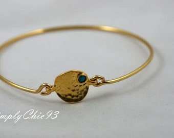 Gold Hammered Coin with small turquoise bead Bangle Bracelet, Turquoise Bangle, Gold Bracelet, Turkish Jewelry, Tribal Bangle,Gypsy,Boho