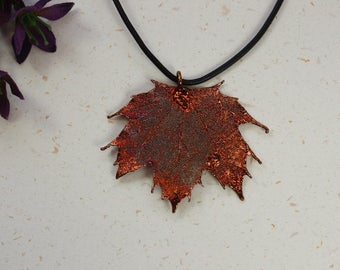 SALE Leaf Necklace, Copper Sugar Maple Leaf, Real Maple Leaf Necklace, Copper Leaf Pendant, SALE180