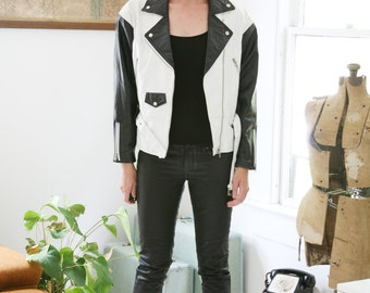 Vintage Classic Motorcycle Jacket Black and White Leather 80s