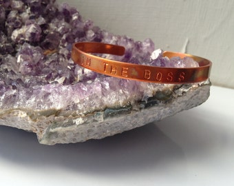 Im The Boss Copper Bracelet // Mantra Jewelry /Inspiration Jewelry /byZULLIdesigns/ZULLI/Womens Jewelry/Holiday Christmas Gifts for her
