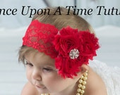 Red Shabby Flower Headband - Newborn Baby Hairbow - Little Girls Hair Bow - Christmas Holiday Winter Wedding - Toddler Costume Hair Piece