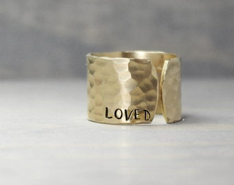 Hammered Ring, Brass Ring, Stamped Brass Ring, One Little Word, Personalized Ring, Hand Stamped Jewelry, Handstamped Jewelry, Wide Ring
