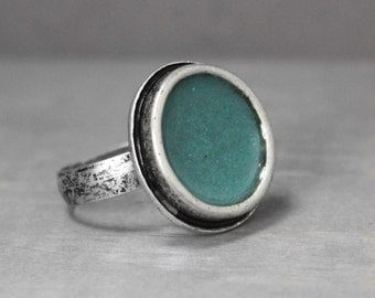 Turquoise Ring, Turquoise Inlay Ring, Adjustable Turquoise Ring, Pewter Ring, Statement Ring, Turquoise Jewelry, Large Turquoise Ring,