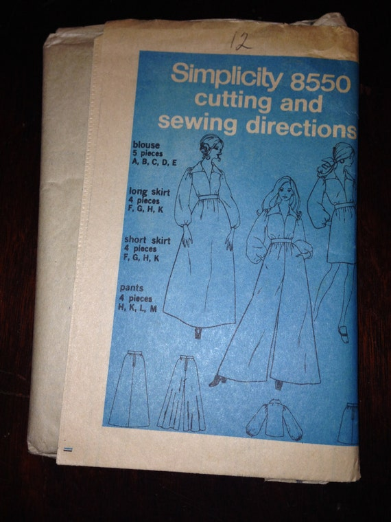 Vintage 60s Simplicity 8550 Sewing Pattern Misses Palazzo Pants Maxi Skirt and Blouse Size 12