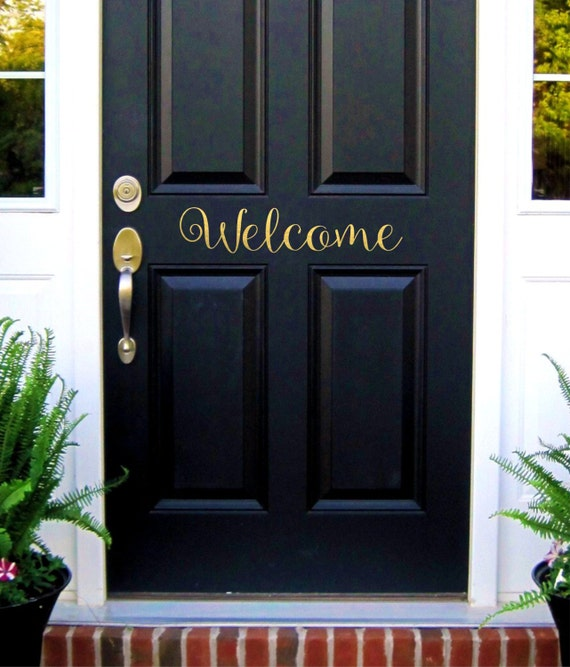 Welcome door decal welcome sign vinyl lettering welcome for Door vinyl design
