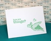 Set of 5 Hand Stamped Sea Turtle Note Cards how are things?