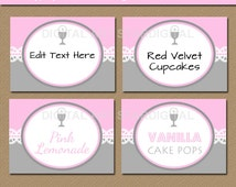 Girl First Communion Labels - Printable First Communion Decorations - Candy Buffet Labels EDITABLE Food Tents - Pink Gray Buffet Cards