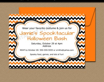 Halloween Party Invites, Halloween Invitation Printable, Halloween Birthday Invitation Instant Download, Orange and Black Chevron Invitation