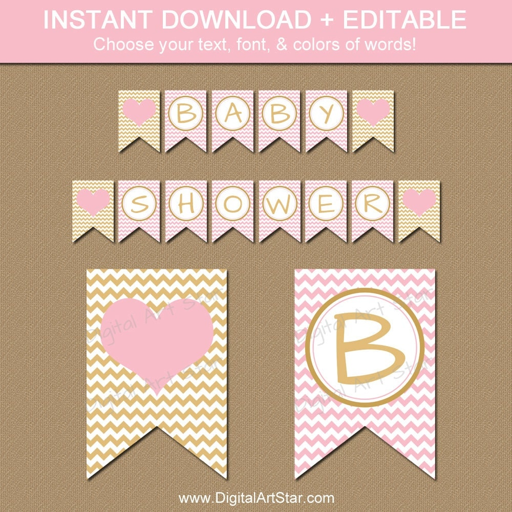 Pink and gold baby shower banner instant download gold and Baby shower banners