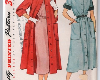 """1950's Coat Dress and Duster Pattern by Simplicity - UC/FF - Bust 32"""" - No. 3409"""