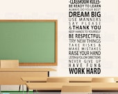 Classroom Rules Wall Decal | Back-to-School Teacher Decorations | School Room Decor | School Rules | Teacher Gifts | Vinyl Wall Decals