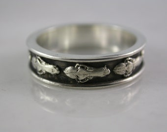 Narrow Wolf Skull Band (Sterling Silver, Bronze, Stainless Steel) (Wide-7mm)(Narrow-5mm) (Sizes 4-13)