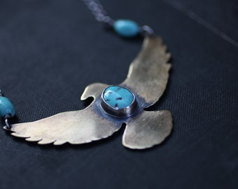 Turquoise Raven Necklace, Mixed Metal Necklace