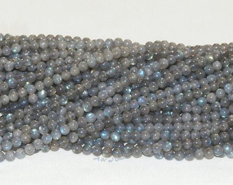 "Labradorite 4mm Round Gemstone Beads A - 16"" Strand"