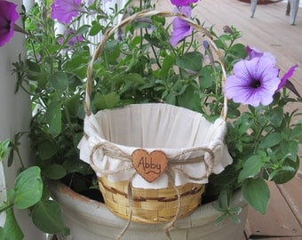Personalized Rustic Flower Girl Basket For Your Country Woodland Wedding