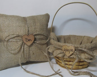 Rustic Burlap Flower Girl Basket and Ring Bearer Pillow - Personalized For Your Special Day