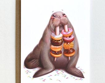 Walrus Donut Card, Birthday Card, Blank Card, Animal Art