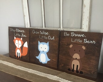 Woodland Creature Nursery Signs, Set of 3, rustic pallet signs,14x14, fox pallet sign, owl sign, bear sign, forest animals, woodland nursery