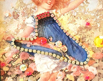 Embellished Framed Ferry Seed Garden Picture - Curly Red-Haired Girl & Butterfly ~ Rhinestone Dress ~Jewels Rhinestones