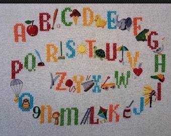 1950s Crewel Embroidery Sampler Needlepoint Finished Child's Alphabet 20 X 16