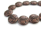 Rustic Copper Butterfly Beads. 11mm 12mm Puffed Coin Beads. Antique Copper Plated Metal Beads. Papillon Cuivre Mariposa Cobra - 10 Pieces