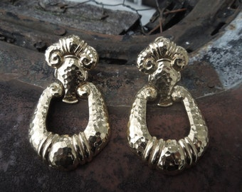 Barrera for Avon Earrings Hammered Gold Tone Large Door Knocker Clipon Clip-on