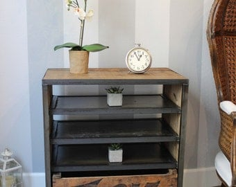 ZORIA Media Cart with shelves -- Custom Crate Furniture -- Vintage Wood Crates and Barn Wood