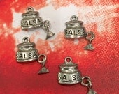 Salsa w/ Dangling Chip Charms -4 pieces-(Antique Pewter Silver Finish)