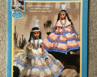 Indian Princesses Crochet Pattern, Sunrise and Sunset Crochet Doll Dress for 15 inch doll by Fibre Craft FCM407