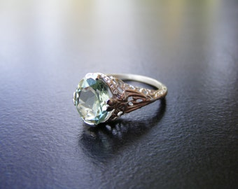 15% Off Sale. S379 Made To Order...Solid Sterling Silver or Solid Gold Antique Style Filigree Ring 3 Carat Natural Green Amethyst Gemstone