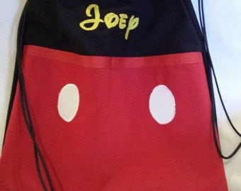 Disney Inspired drawstring backpack/ Mickey Mouse backpack/ cinch sack