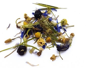 Bedtime Blues Herbal Tisane (Caffeine Free) - Loose Leaf Tea - Chamomile Tea - Herbal Tea -  Handblended Tea - Valerian Root Tea - Herbalist
