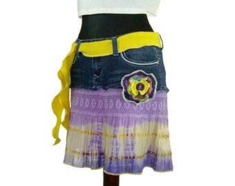 Hippie Skirt, Upcycled Clothing, Tattered Pixie Skirt, Boho Skirt, Purple Skirt, OOAK Denim Skirt, Gypsy Skirt, Tie Dye Skirt, Summer Skirt