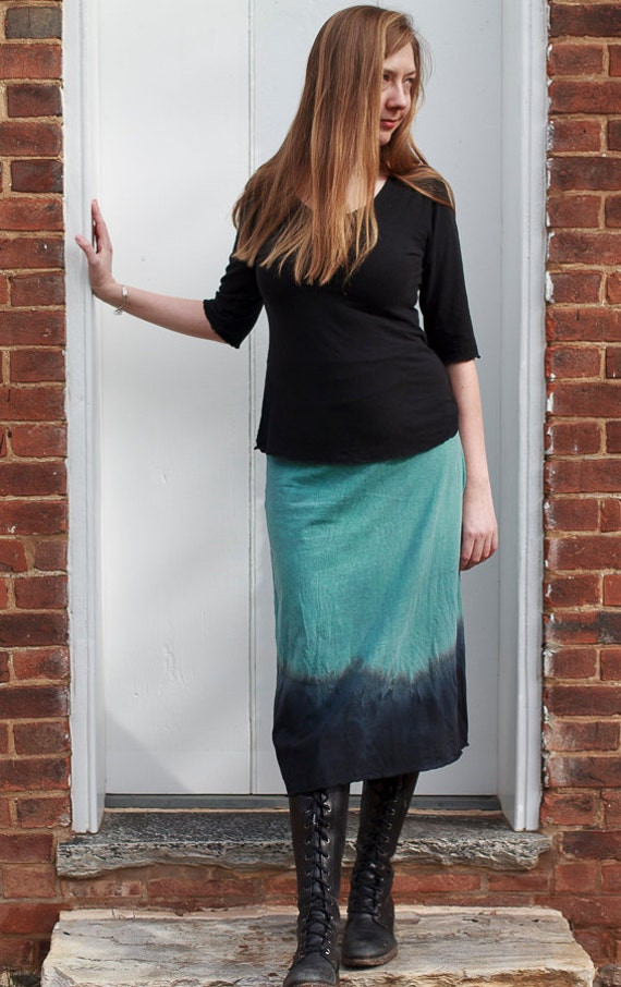Mountain Range A-line Skirt, American Grown Organic Cotton Skirt, Dip Dyed Skirt, Long Eco Friendly Jersey Skirt