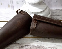 Antique Military Gaiters Horse Riding Army Cavalry Leather Puttees Accessories Early Century 1900's Equestrian Prop Movies Photo Props