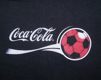Vintage Coca Cola T Shirt Red Soccer Ball Soft Drink Sport Street Wear Swag Hip Hop