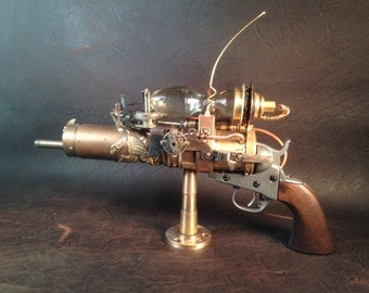 "Sold-Custom Orders Only Steampunk Gun, ""Blue Ether Peacemaker"""