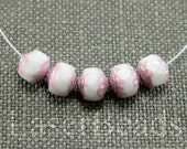 Pink and white beads 8mm Cathedral beads czech glass 20 pc 8mm fire polished round beads opaque luster last