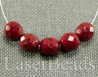 12pc Deep red 10mm faceted czech glass beads Opaque red beads 10mm Large red round beads faceted beads 10mm dark red