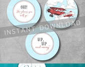 Vintage Airplane Cupcake Toppers - Birthday - Up Up and Away - Retro - Red and Blue - Vintage Birthday - Printable DIY - INSTANT DOWNLOAD