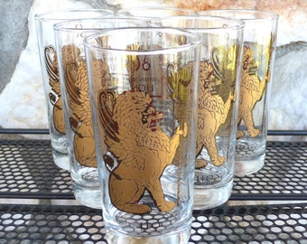Vintage Mid Century Modern Gold Leo the Lion Zodiac Bar Glasses Foiled