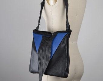 SUMMER SALE Geometric Leather Bag - Shoulder Leather Bag - Royal Leather Bag - Leather Bag Purse - Leather Shoulder Bag