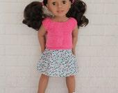 Cool Afternoon Bright Pink Knitted Top Yellow & Greyy Skirt - Dolls clothes to fit Australian Girl dolls