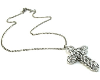 Mini Classic Chainmail Cross Necklace - Metal Crochet Cross Pendant for Men Women - Womens Mens Cross Necklace