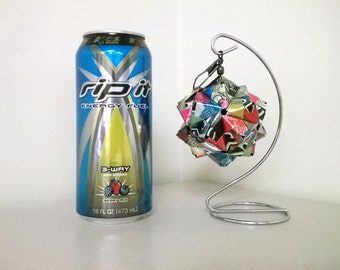 Rip It Energy Drink Origami Christmas Ornament, 5 Flavor Mix.  Upcycled Recycled Repurposed Art